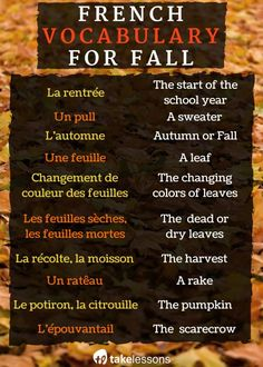 L'automne en France – French Vocabulary for Fall