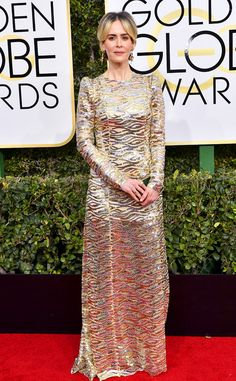 Sarah Paulson in Marc Jacobs from 2017 Golden Globes Red Carpet Arrivals - this looked much better on tv than in photos.