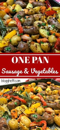 A one pan meal of Italian Sausages, carrots, potaotes, onions, and bell peppers . - Food and drink - Sausage Italian Sausage In Oven, Roasted Italian Sausage, Italian Sausage Recipes, How To Cook Sausage, Italian Sausages, Smoked Sausages, Oven Vegetables, Roasted Vegetables, Sausage Potatoes And Peppers