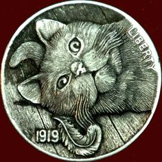 Magic Cat, Hobo Nickel, Coin Art, Large Paper Flowers, Bullion Coins, Mushroom Art, Metal Engraving, Maine Coon Cats, Abstract Sculpture