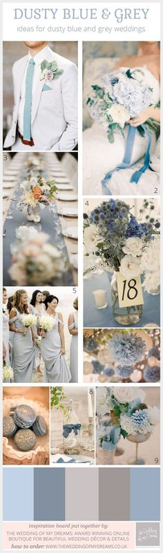 dusty blue and grey wedding inspiration and decorations
