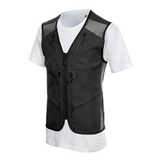 Mens Outdoor Multifunction Multi-pocket Mesh Hunting Fishing Vest - Black, M  http://fishingrodsreelsandgear.com/product/mens-outdoor-multifunction-multi-pocket-mesh-hunting-fishing-vest/?attribute_pa_color=black&attribute_pa_size=m  Polyester 100% 8 pockets for convenient storage. Effortlessly Carry your belongings – Front hidden Kangaroo Hand Zip pockets, Zippered pockets on the chest, besides neck and at the center Vented mesh panels -increases breathability. This st