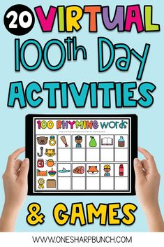 School Days Games, 100th Day Of School Crafts, 100 Day Of School Project, 100 Days Of School, 1st Grade Math Games, 1st Grade Activities, 100 Day Celebration, Directed Drawing, Rhyming Words