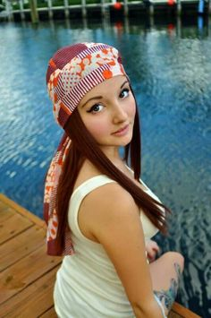 Fashion Chemo Head Scarves with hair extensions attached for convenience and style! #hairloss #headscarf #chemowrap #cancerwrap