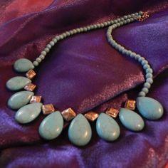 Teardrop Turquoise Aqua Necklace Statement by TheVelvetMannequin, $15.00