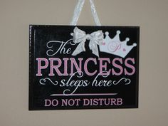 The Princess Sleeps Here Beautiful Vinyl Sign for by ParleyRay, $35.00