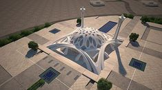 From Wikiwand: A sample of modern Islamic architecture - The mosque of international conferences center - Isfahan Mosque Architecture, Concept Architecture, Futuristic Architecture, Architecture Design, Architecture Background, Beautiful Mosques, Beautiful Buildings, Outdoor Restaurant Design, Islamic City