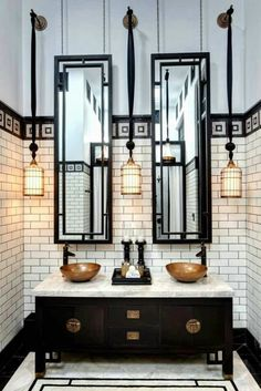 Indulge Daily 12.21.13 bathroom with black vanity and bronze hardware - Design Indulgences