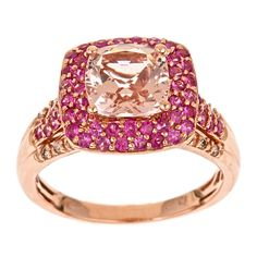 This ring features a cushion-cut morganite center stone with pink sapphires and diamonds. The band is crafted of highly polished 14-karat rose gold.