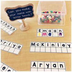 We always start with lots of name activities the first week of school! You can grab the free editable file to make your own name matching cards by clicking on the link in my profile♥️ . #firstweekofschool #nameactivities #matching #letterbeads #teachersfollowteachers #teachersofinstagram #teachersofig #iteachtoo #iteachk #iteachkinder #kindergarten #kindergartenteacher #canadianteacher #ontarioteacher #fdk #fulldaykindergarten
