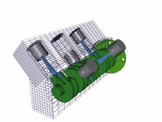 Engine parts: V - The cylinders are arranged in two banks set at an angle to one another. [Animated at source]