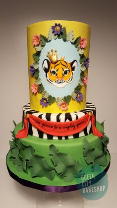 Tiger baby shower cake