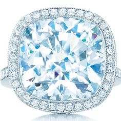 Tiffany & Co. Cushion-cut diamond ring in platinum with round brilliant diamonds. $1,800,000