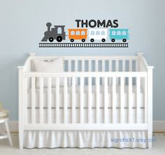 Toy Train wall decal set with personalized name by signchick1, $40.00