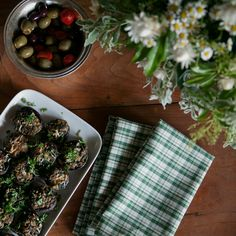 Stuffed Mushrooms Canape - Green and Cream Plaid Napkins and Placemats by Huddleson Linens.