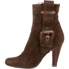 Giuseppe Zanotti Buckle Embellished Ankle Boots ($195) ❤ liked on Polyvore featuring shoes, boots, ankle booties, brown, suede boots, brown bootie, ankle boots, suede bootie and brown suede boots