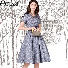 e90c262b17ae9 |Artka 2015 женская ретро новая коллекция летней одежды v образным вырезом  классическое элегантное прохладное хлопковое платье LA10555X купить в  магазине ...