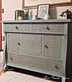 Using textured wallpaper for a furniture restore - she has some great furniture redo's on her site    Great Blog - Our Prairie Home: Buffet Reveal
