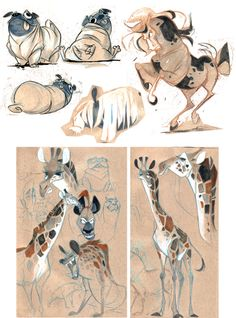 animal sketchbook roundup of the week  done with colors pencils, white gouache paint, and markers on tan paper