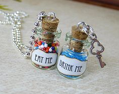 This listing is for a set of TWO (2) glass vial necklaces: one Eat Me and one Drink Me 2ml glass vial necklace. Both Eat Me and Drink Me come in