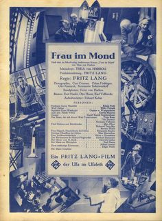 Frau im Mond 1929 150 min Woman In The Moon Fritz Lang, Fantasy Films, Sci Fi Movies, Horror, Moon, My Favorite Things, History, 1920s, Magazine