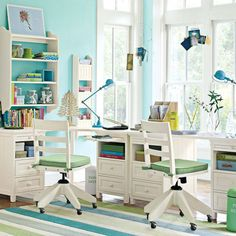 Amazing Pale Blue for Cool Trendy Study Desks for Children with Cheer full Theme