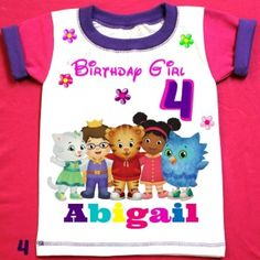 Daniel the Tiger Personalized Birthday Girl Shirt, with child name and age.