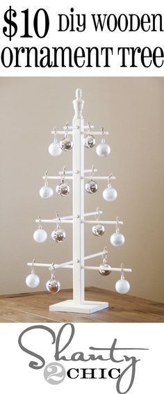 Easy DIY Wooden Ornament Tree from Shanty-2-Chic.com #12daysofChristmas Day 5