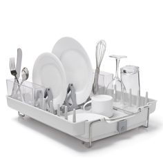 Dish Rack Foldaway Drainer Holder Cutlery Plate Kitchen  Grey Plastic