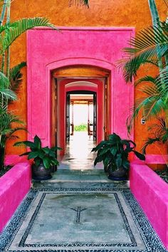 This Hot Pink Hotel in 1 of the Best Kept Secrets in Mexico If you're looking to take a Mexican vacation that's unique and relaxing, you should check out Las Alamandas. Set right on the Costalegre Coast between Puerto Pink Hotel, Tulum Mexico, Mexico City, Mexico House, Hotels In Mexico, Mexico Resorts, Mexico Vacation, Mexico Travel, Italy Vacation