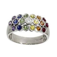 Platinum, rainbow range multi-coloured sapphire, ruby & diamond dress ring