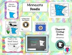 This is a set of 8 Minnesota themed teaching resources that include puzzles, a travel journal, a reading packet, an acrostic poem, journal pages and a research book.  For more descriptions please see individual listings by typing AJ Bergs and the state in the search engine.Designs Font: TeachtoTell https://www.teacherspayteachers.com/Store/Teachtotell