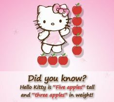 Hello Kitty is so petite, she's measured by apples!