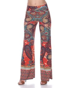This White Mark Brown & Orange Paisley Palazzo Pants by White Mark is perfect! #zulilyfinds