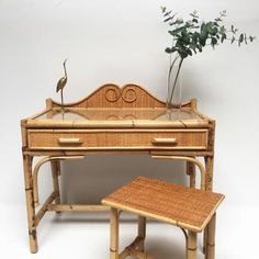 Cane Furniture, Vanity Bench, French Vintage, Rattan, Bamboo, Shabby Chic, Objects, Antiques, Random