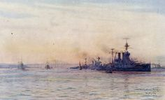 British Battleships HMS Valiant and HMS Malaya in the Firth of Forth. Both ships fought at the Battle of Jutland on 31st May 1916 in Rear-Admiral Evan-Thomas's 5th Battle Squadron: picture by Lionel Wyllie