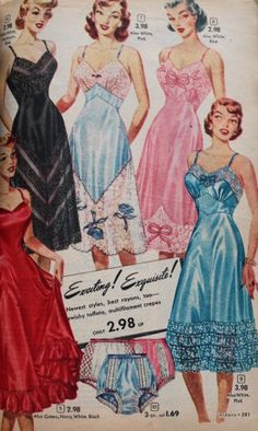 1950s slips lingerie - 1952 Satin Slips for Party Dresses  #1950s #lingerie