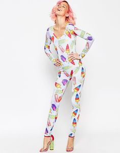 ASOS Unitard in Wall's Rocket Lolly Print..... I wonder if I could get that in a work or flight jump suit??? also Rocket Lolly would be a good name I wonder if I could change the kid's name 28 years in? because I would have went with that....