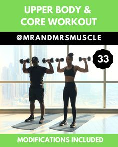 Upper Body & Core HIIT Workout - Fitness and Exercises, Outdoor Sport and Winter Sport Upper Body Hiit Workouts, Sixpack Workout, Full Body Hiit Workout, Slim Waist Workout, Gym Workout Videos, Fitness Workout For Women, Dumbbell Workout, Body Fitness, Gym Workouts