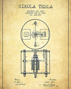 Nikola Tesla Patent Drawing From 1886 - Vintage Poster by Aged Pixel. All posters are professionally printed, packaged, and shipped within 3 - 4 business days. Choose from multiple sizes and hundreds of frame and mat options. Nikola Tesla Inventions, Nikola Tesla Patents, Nikola Tesla Quotes, Tesla Technology, Energy Technology, Nicola Tesla, Patent Drawing, Patent Prints, Vintage Posters