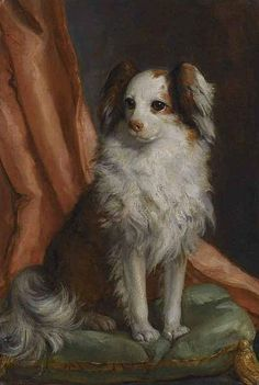 This rare canine portrait was painted ca.1763, during Giambattista Tiepolo's stay in Madrid, & depicts one of the toy spaniels belonging to the Infanta María Josefa of Bourbon.