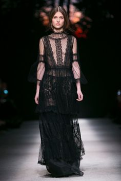 A black point d'esprit and lace nightie gown from the Alberta Ferretti fall 2015 collection. (Photo: Nowfashion)