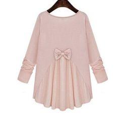 Blouse With Big Bow Women Wrinkle Shirts Female Blouses All Match Full Sleeve Patchwork Irregular Hem Blusas Autumn Vintage L007