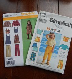 2 Sewing Patterns- Top, Skirt, Pant, Shorts, Dress & Vest/ Simplicity 9186/ 2484/Childs Girls Sz 3, 4, 5, 6/Back to School Coordinates Uncut by RedWickerBasket on Etsy