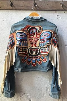 Blue Denim Casual Outerwear - Blue S Denim And Lace, Blue Denim, Painted Denim Jacket, Painted Clothes, Embellished Jeans, Denim Outfit, Western Wear, Boho Fashion, Cheap Fashion