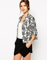 Warehouse Mono Floral Quilted Jacket