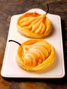 Pear and Marzipan Tartlets with Williams Pear and Elderflower Glaze. Easy to make, these little tartlets can be frozen uncooked and simply cooked to golden perfection when unexpected guests arrive.