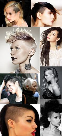 The Chelsea Look~who wore this look? Roo says it& a type of haircut comin outta the with bangs and long sideburns but everything else is shaved. Need Pics Roo Undercut Hairstyles, Pretty Hairstyles, Ladies Hairstyles, Shaved Hairstyles, Sideburn Styles, Half Shaved Hair, Roll Hairstyle, Pin Up Hair, Short Hair Cuts