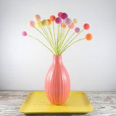 Pom pom flower bouquet  Rainbow colors  Wool felt by berryisland