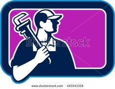 Illustration of a plumber holding pipe wrench on shoulder looking to the side viewed from front set inside rectangle shape on isolated background done in cartoon style. #plumber #retro #illustration
